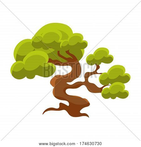 Green Tree Bonsai Miniature Traditional Japanese Garden Landscape Element Vector Illustration. Japan Culture Mini Plant Growing Art Isolated Landscaping Item