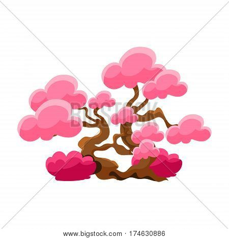 Pink Tree Bonsai Miniature Traditional Japanese Garden Landscape Element Vector Illustration. Japan Culture Mini Plant Growing Art Isolated Landscaping Item