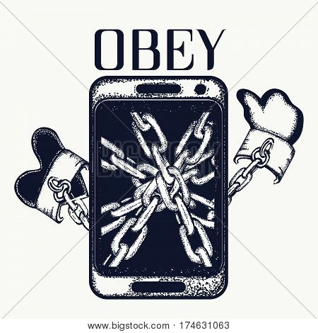 Obey tattoo. Dependence on phone. Concept dependence Internet tattoo art. Phone wound by a chain dependence on social networks t-shirt design