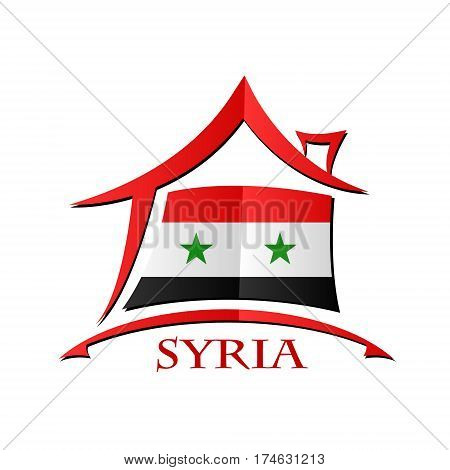 House icon made from the flag of Syria
