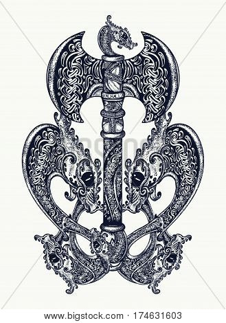 Axe in the Celtic style tattoo art. Thor's Hammer axe viking celtic style t-shirt design