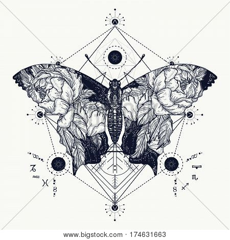 Butterfly tattoo in geometrical style. Beautiful butterfly boho t-shirt design wings and roses symbol of freedom travel. Tattoo for woman style double exposure