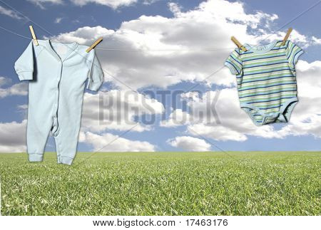 """Outdoor Clothesline on a Fantasy Sky and Grass Background (Insert Baby in Outfit in Middle """"Hanging"""" Adorably!)"""