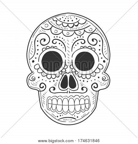Traditional Mexican Painted Scull, Dia De Muertos Holiday Symbol In Sketch Style In Black And White Color. Monochrome Hand Drawn Dead Head From Mexico For Coloring Book Page Vector Illustration.
