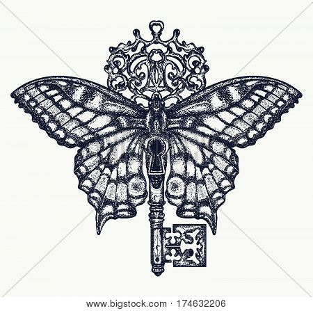 Butterfly and key tattoo art. Mystical symbol of freedom spiritual search flight travel. Beautiful butterfly t-shirt design boho style