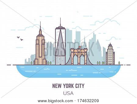 New York City line vector pixel perfect illustration. Bridge and real famous buildings flat style. Architecture background with skyscrapers and river. USA modern town. Business center of NYC.