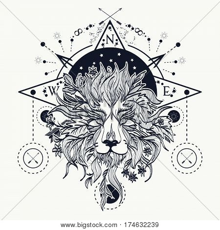 Mystic lion tattoo art. Alchemy religion spirituality occultism tattoo lion art and t-shirt design