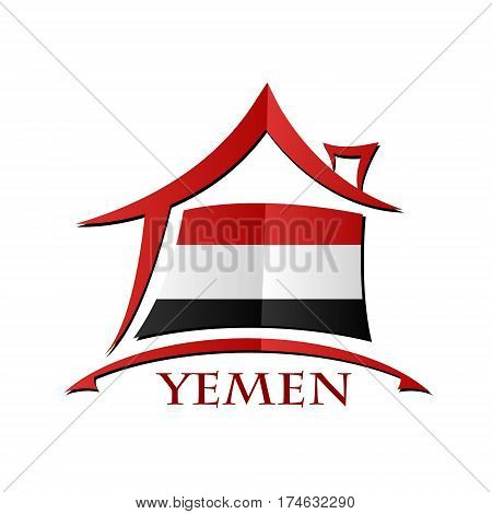 House icon made from the flag of Yemen