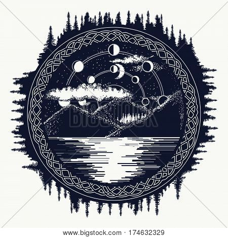 Mountain lake tattoo art. Mystical symbol of tourism camping travel. Lunar phases over mountain lake t-shirt design