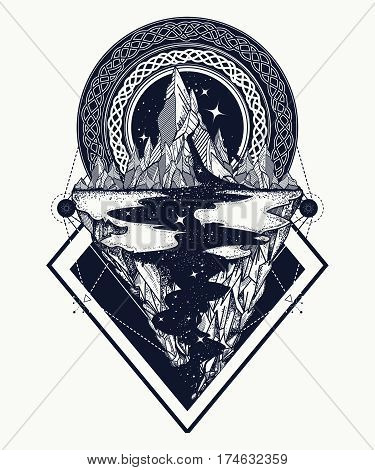 Mountains tattoo geometric style. Adventure travel outdoors symbol boho style t-shirt design. Star river and mountains tattoo art hipster style