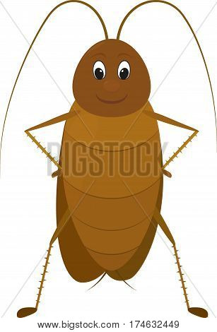 cartoon image of a funny brown cockroach with antenna standing and smiling, isolated on a white background. cartoon insect.