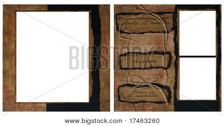 Torn Grunge Square Frame Scrapbook Template-Insert your Photos!
