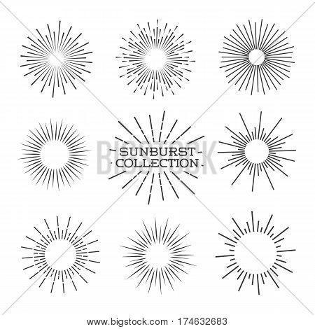 Vector sunburst line black set. Vector Illustration