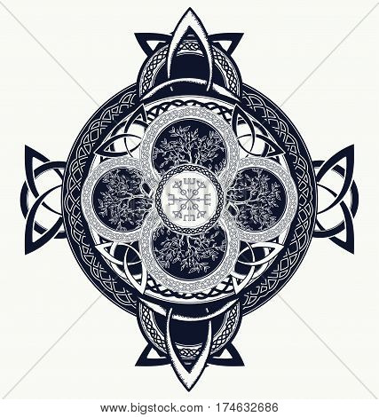 Celtic cross tattoo. Dragons and celtic tree of life. Mystic tribal scandinavian and Irish symbol celtic cross t-shirt design