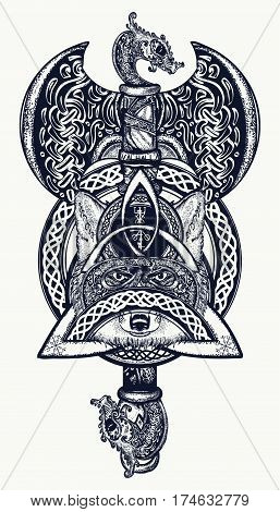 Thor's Hammer tattoo. Axe viking warrior fox celtic style t-shirt design. Helm of Awe aegishjalmur celtic trinity knot tattoo