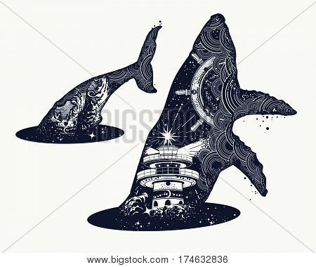 Whale double exposure surreal tattoo. Steering wheel lighthouse storm. Travel adventure outdoors symbol whale double exposure animals t-shirt design