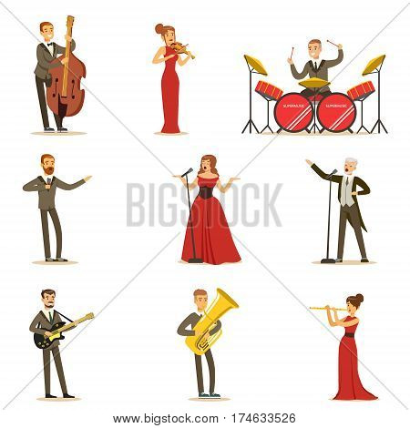 Adult Musicians And Singers Performing A Musical Number On Stage In Music Hall Collection Of Cartoon Characters. People Singing And Playing Musical Instruments In Concert Vector Illustrations.