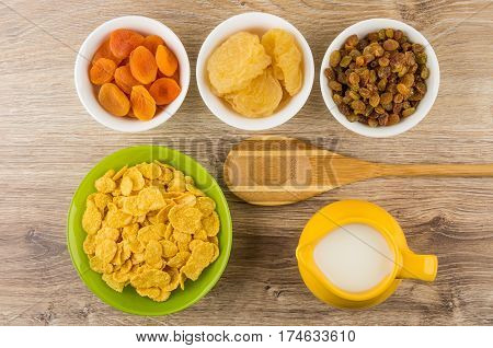 Dried Fruits In Bowls. Corn Flakes And Milk