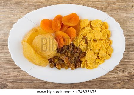 Oval Dish With Dried Pears, Raisins And Dried Apricots