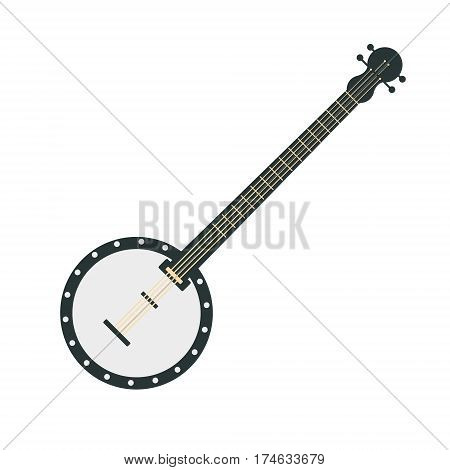 Banjo, Part Of Musical Instruments Set Of Realistic Cartoon Vector Isolated Illustrations. Music Orchestra Related Object , Simple Clipart Item In Bright Color.