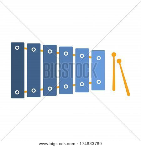 Xylophone , Part Of Musical Instruments Set Of Realistic Cartoon Vector Isolated Illustrations. Music Orchestra Related Object , Simple Clipart Item In Bright Color.