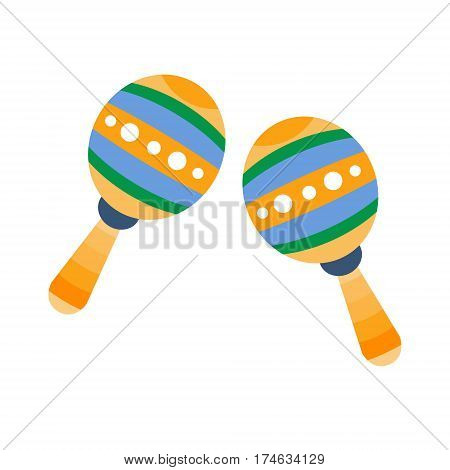 Maracas, Part Of Musical Instruments Set Of Realistic Cartoon Vector Isolated Illustrations. Music Orchestra Related Object , Simple Clipart Item In Bright Color.