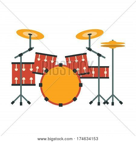 Drum Kit, Part Of Musical Instruments Set Of Realistic Cartoon Vector Isolated Illustrations. Music Orchestra Related Object , Simple Clipart Item In Bright Color.