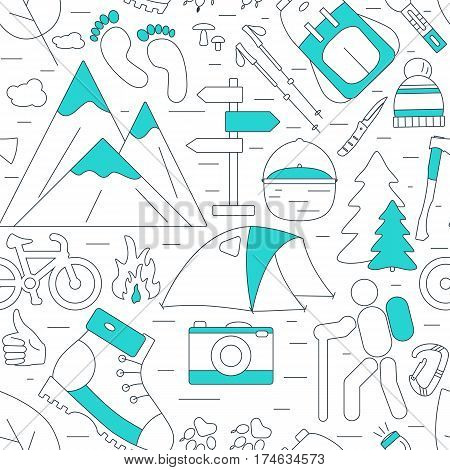 Outdoor seamless background on white. Hiking and camping line icons. Summer tourism items. Travel vector pattern.