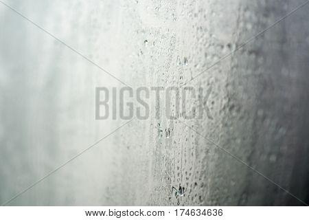 Drops Of Water On Wet Window.