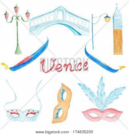 Watercolor hand drawn venetian symbol gondola rialto bridge carnival mask san marco bell tower