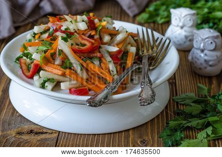 Daikon Salad With Pumpkin Sweet Pepper And Parsley