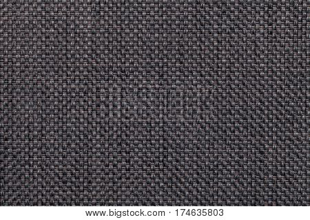 Dark gray textile background closeup. Structure of the fabric macro.