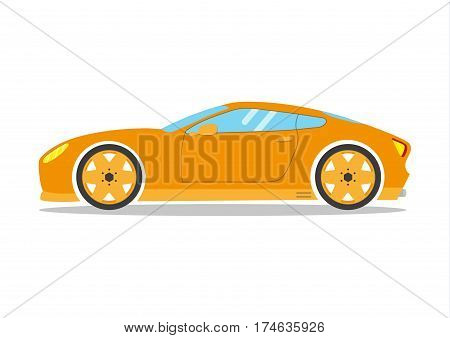 Race sport car. Supercar tuning coupé auto .Flat style vector transportation vehicle illustration isolated