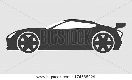 Race sport car silhouette.Supercar tuning coupe auto .Flat style vector transportation vehicle illustration isolated