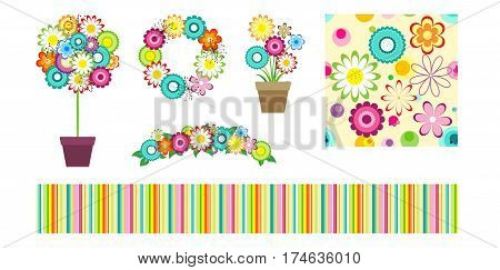 Set of flowers design elements for greeting cards and labels. Colorful floral bouquet, vase, wreath and ikebana. Seamless strips and flowers patterns. Childish design elements.