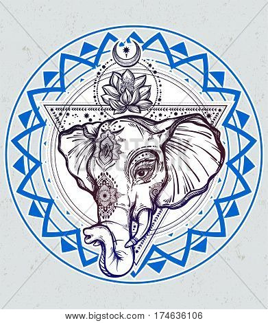 Decorative vector elephant with lotus and sacred geometry. Ideal ethnic background, tattoo art, yoga, African, Indian, Thai, spirituality, boho design. Use for print, posters t-shirts textiles