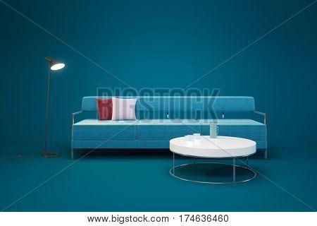 Living-room interior in minimalism style, 3d rendering