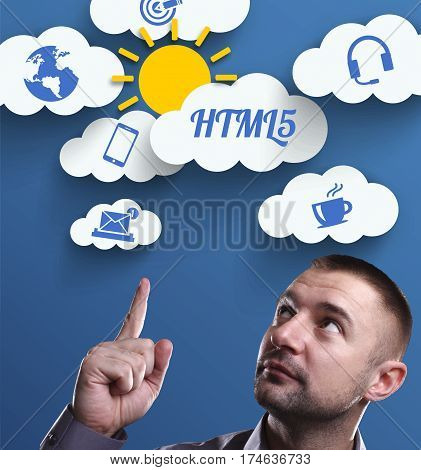 Business, Technology, Internet And Marketing. Young Businessman Thinking About: Html5