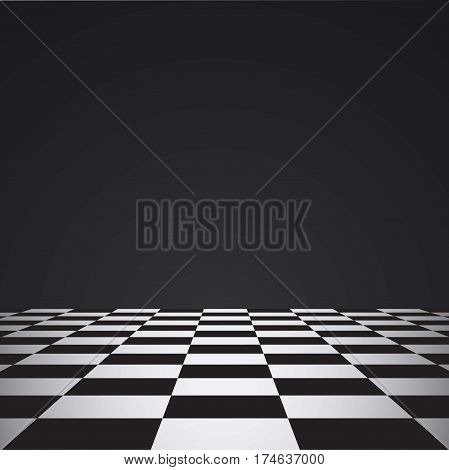 Chess floor on a dark background checkered