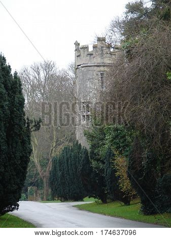 stately castle turret and grounds in ireland