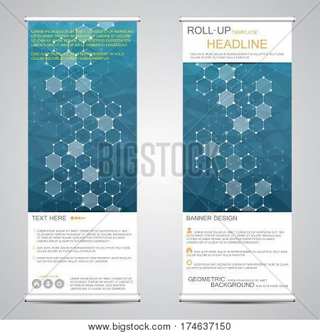 Roll-up banner stands for presentation and publication. Geometric abstract background. Vector illustration.