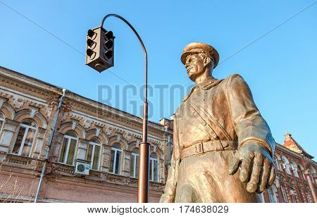 SAMARA RUSSIA - MARCH 2 2017: Bronze monument