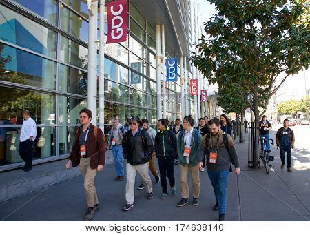 San Francisco CA - March 01 2017: Game Developers Convention 2017 entrance. GDC is the most important conference about video games development in the world at the Moscone Center West Hall