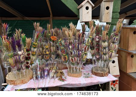 VILNIUS LITHUANIA - MARCH 4: Traditional palm bouquets in annual traditional crafts fair - Kaziuko fair on Mar 4 2017 in Vilnius Lithuania