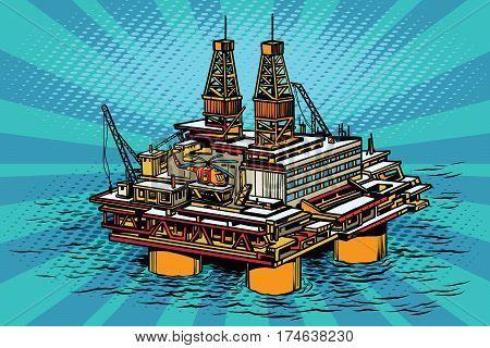 Oil and gas producing offshore platform. Pop art retro vector illustration