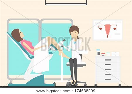 Woman with gynecologist in cabinet. Female doctor examines young woman in chair.