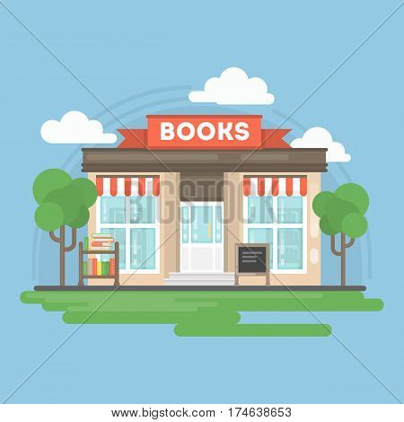 Book store building. Isolated urban building with sign and storefront. City landscape with clouds and trees.