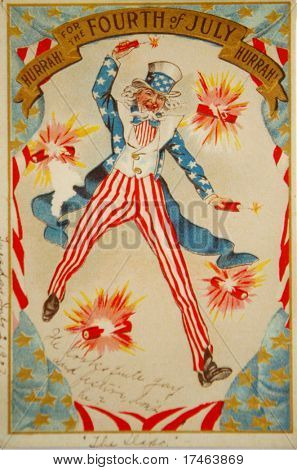 Celebrating the 4th of July - a 1907 vintage illustration of Uncle Sam with fireworks.