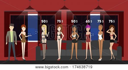 Choosing girls in brothel. Women in sexy outfit with different prices. Red and black interior.