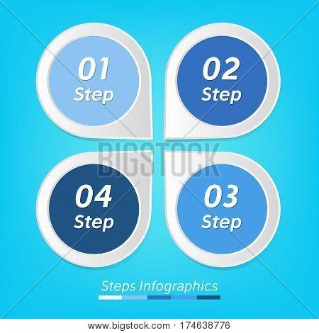 Four steps infographics vector. Isolated 1 2 3 4 number symbols blue background. Marketing illustration